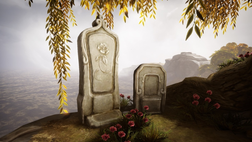 two gravestones